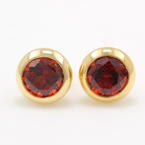 Estate Retro Vintage 14K Yellow Gold Garnet 1.75CTW Round Cut Stud Earrings