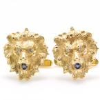 Vintage Estate Men's 14K Yellow Gold Lions Head Sapphire Diamond Cufflinks