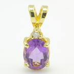 Vintage Estate 14K Yellow Gold Purple Amethyst Oval Cut Diamond Pendant