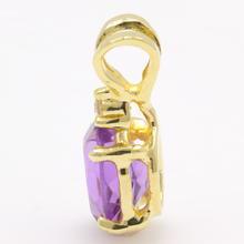 Vintage Estate 14K Yellow Gold Purple Amethyst Oval Cut Diamond Pendant