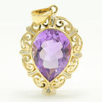 Vintage Estate 10K Yellow Gold Amethyst Pear Cut Pendant