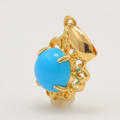 Vintage Estate 18K Yellow Gold Turquoise Cabochon Ornate Pendant