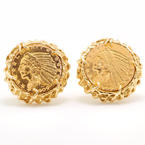 Vintage Estate Men's 14K Yellow Gold Nugget 22K 1909 $5 INDIAN HEAD Coin Cufflinks
