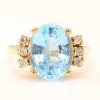 Retro Vintage Estate 10K Yellow Gold Oval Cut Blue Topaz Diamond Cocktail Ring