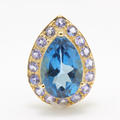 Vintage Estate 10K Yellow Gold Blue Topaz Pear Cut Gem Purple Iolite Pendant