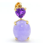 Vintage Estate 14K Yellow Gold Purple Oval Jade Purple Heart Amethyst Pendant