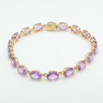 "Retro Vintage Estate 10K Yellow Gold Purple Oval Amethyst Gemstone 7"" Bracelet"