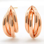 Retro Vintage Estate 14K Rose Gold High Polished Light Push Back Earrings