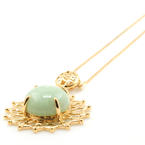 Vintage Estate 14K Yellow Gold Jade Circle of Unity Pendant and Chain