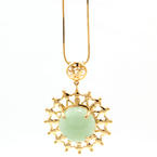 Vintage Estate 14K Yellow Gold Jade Circle of Unity Pendant Chain Necklace