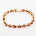 "Retro Vintage Estate 14K Yellow Gold Garnet Oval BirthStone Gemstone 7"" Bracelet"