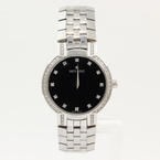 Gorgeous Movado Stainless Ladies Watch 84 A1 1845 Black Diamonds Dial & Bezel