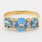 NEW Modern Ladies 10k Blue Topaz Diamond Cocktail Right Hand Ring Band