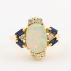Retro Estate 14K Yellow Gold Opal Diamond Spinel 1.80CT Cocktail Right Hand Ring