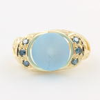 NEW Unique Modern Ladies 14K Yellow Gold Blue Sapphire Diamond Cocktail Ring