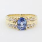 Vintage Womens 14K Yellow Gold Sapphire Diamond Right Hand Cocktail Ring