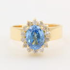 NEW Ladies 14k Yellow Gold Blue Zirconia Diamond Halo Cocktail Ring