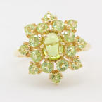 Retro Estate 10K Yellow Gold Lime Green Peridot Cabochon Cluster Cocktail Ring