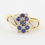 Charming Ladies 18K Yellow and White Gold Spinel Diamond Right Hand Ring