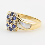 Ladies Vintage Classic Estate 18K Yellow Gold Blue Spinel & Diamond Cocktail Ring