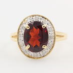 Womens Vintage 14K Yellow Gold 2.00CTW Oval Garnet Diamond Halo Ring