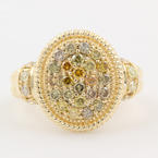 Exquisite Ladies Estate 10K Yellow Gold Diamond 0.95CTW Right Hand Ring Jewelry