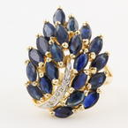 Fine Womens Vintage Retro 14K Yellow Gold Diamond and Blue Spinel 2.55CTW Ring