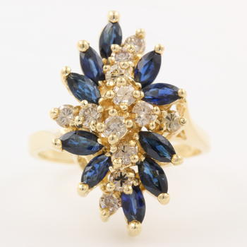 Vintage Retro 14K Yellow Gold Blue Spinel and Diamond 2.85CTW Cocktail Ring