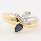 Fine Ladies 18K Yellow and White Gold Deep Blue Spinel Diamond Right Hand Ring