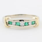 Vintage Estate Divine Ladies 14K White Gold Sapphire and Emerald Band Ring