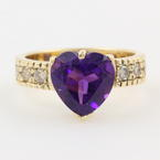 New Modern 14K Yellow Gold Heart Purple Amethyst Diamond Cocktail Statement Ring Band