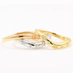 NEW Modern 18K Tricolor Diamond Stackable Wave Fashion Cocktail Rings Band
