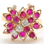 Vintage 14K Yellow Gold Retro Red Ruby Diamond 1.50CTW Right Hand Cocktail Ring
