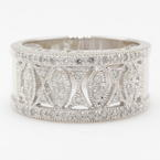 NEW Modern 14K White Gold Diamond Ornate Right Hand Ring Band
