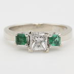 Fine 14K White Gold Three Stone Princess Diamond Emerald 1.00CTW Engagement Ring