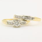 Fine Vintage Ladies 14K Yellow Gold Diamond Feature Lock Wedding Ring Set Duo