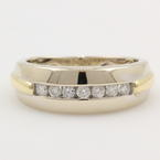 Classic Estate Men's 14K White and Yellow Gold Brilliant Diamond Ring Band