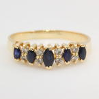Fine Estate 14K Yellow Gold Diamond and Blue Sapphire Right Hand Ring