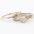Classic Modern Estate 10K White Gold Princess Cut Diamond Wedding Ring Duo Set