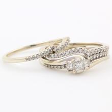 Classic Modern Estate 10K White Gold Princess Cut Diamond Wedding Ring Duo Set