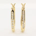 NEW Classic Modern 10K Yellow Gold Natural Diamond Hoop Earrings