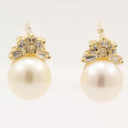 Classic Estate 14K Yellow Gold Cultured Pearl & Zirconia Earrings