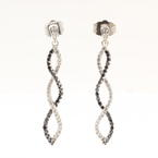 NEW Modern 10K White Gold Black and White Diamond Drop Earrings