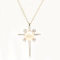Fine Vintage Estate Classic 14K White Gold Sapphire Pearl Pendant Chain Necklace