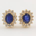 Classic Retro Estate 14K Yellow Gold Diamond Sapphire BirthStone Screw Back Stud Earrings