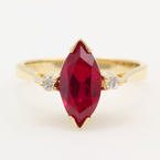 Retro Estate 14K Yellow Gold Authentic Ruby and Diamond Birth Stone Ring
