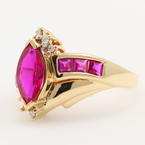 Retro Estate 10K Yellow Gold Spinel and Diamond Ringht Hand Ring