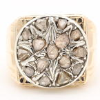 Fine Antique Estate Mens 10K Yellow Gold Rough Natural Diamond 1.50CTW Ring