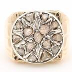 Fine Antique Estate Mens 10K Yellow Gold Rough Natural Diamond 1.50CTW Ring