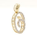 NEW Modern 10K Yellow Gold Diamond Oval Swirl Pendant